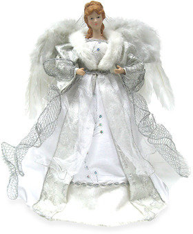 Bed Bath & Beyond 16-Inch Angel Tree Topper with Silver Fabric Gown