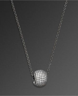 Crislu Necklace, Hematite over Sterling Silver Cubic Zirconia Ball (1-7/8 ct. t.w.)