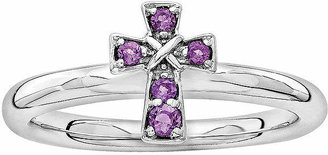 Silver Cross FINE JEWELRY Personally Stackable Genuine Amethyst Sterling Stackable Ring