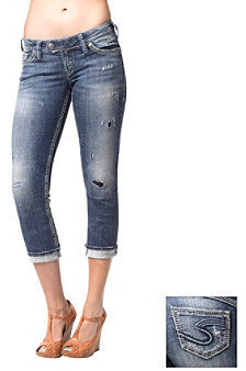 Silver Jeans Co. Tuesday Straight Fit Low Rise Rose Capri Jeans