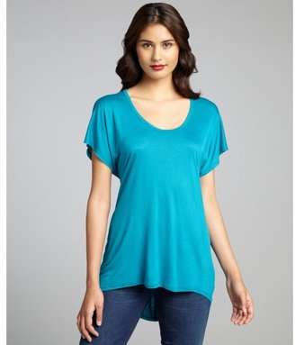 Loveappella teal jersey knit high-low short sleeve t-shirt