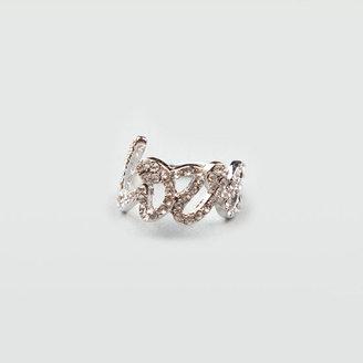 Full Tilt Rhinestone Cursive Love Ring