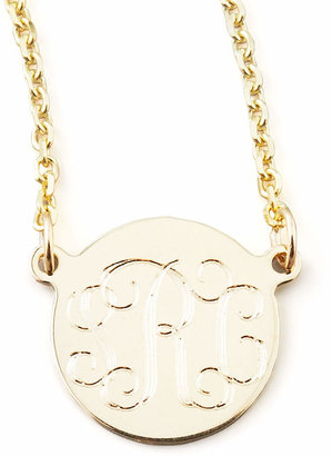 "Sarah Chloe Cara Monogrammed 14k Gold Necklace, 3/8"""