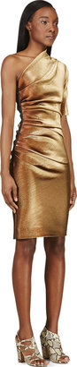 Lanvin Gold Asymmetrical Metallic Twill Dress