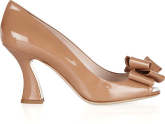 Miu Miu Bow-embellished patent-leather pumps
