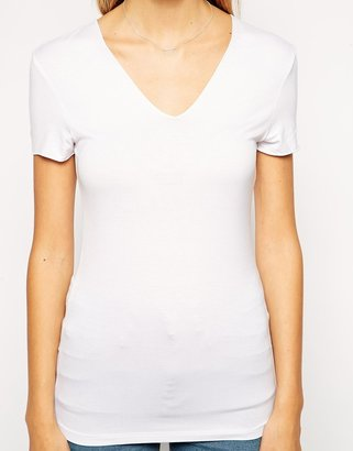 Asos T-Shirt with Short Sleeve V Neck with Clean Finish