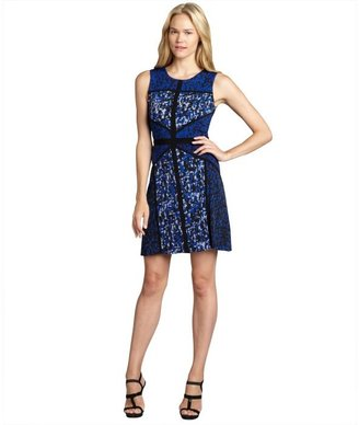 Taylor electric blue and black printed stretch jersey knit patchwork dress