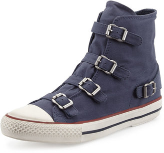 Ash Virgin Buckled Canvas Sneaker, Navy