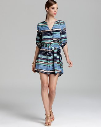 Of the Moment Aqua Shirt Dress - Geo Repeat Tab Sleeve