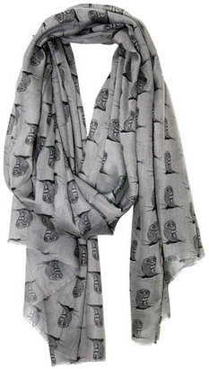 Happy Scarf Twenty Four Owls A Day Gray