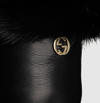 Gucci Women's Black Leather And Mink Gloves