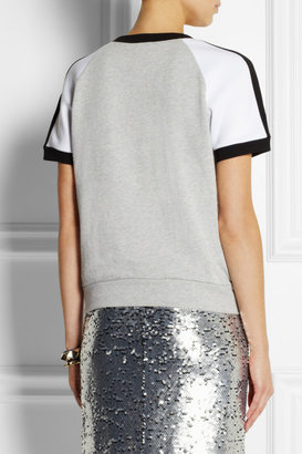 DKNY Color-block cotton French terry top