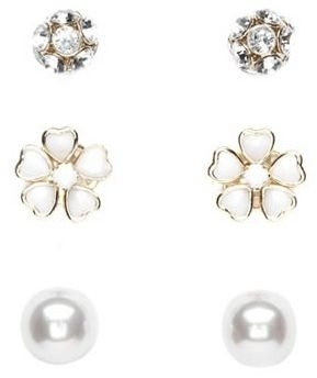 Charlotte Russe Fireball, Flower & Pearl Earring Set