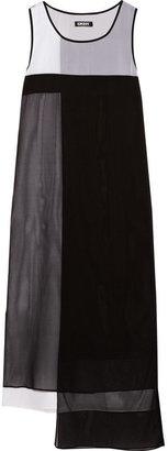 DKNY Color-block stretch-silk midi dress