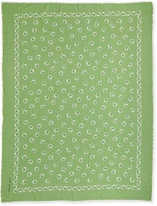 Marc Jacobs Floral Voile Fringe Scarf, Lime