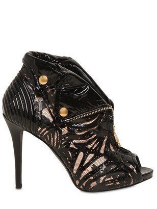 Alexander McQueen 110mm Patent & Lace Skull Low Boots