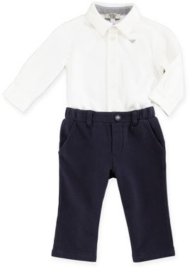 Armani Junior Herringbone-Print Vest, Long-Sleeve Jersey Shirt & Jersey Pants Set, 3-24 Months