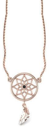 ANTOANETTA - 14K Rose Gold Dreamcatcher Necklace with Black Diamond