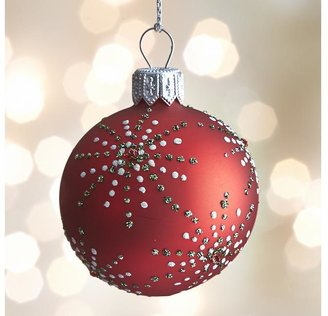 Crate & Barrel Red Dot Burst Ball Ornament