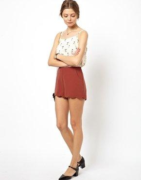 Asos Shorts With Scallop Hem - Burnt orange