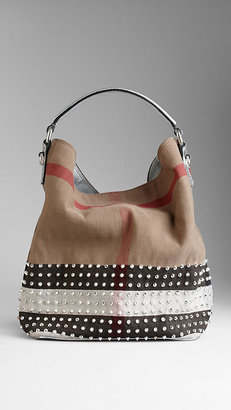 Burberry Medium Studded Check Canvas Hobo Bag