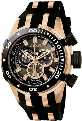Invicta Watch, Men's Swiss Chrongraph Reserve Bolt Rose Gold-Tone Stainless Steel and Black Polyurethane Strap 50mm 978