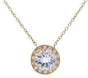 Andrea Fohrman Small White Rock Crystal Kat Pendant with Diamonds - Yellow Gold