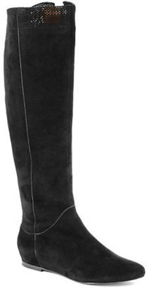 AERIN Denford Lace-trimmed Suede Riding Boots