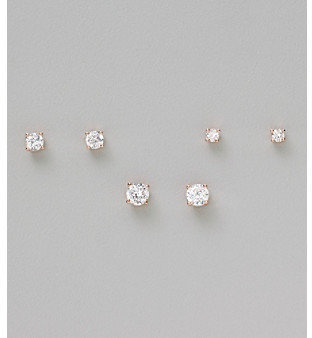 Stone Rose 21st and Gold Plated Trio Cubic Zirconia Round Earrings: Small, Medium & Large