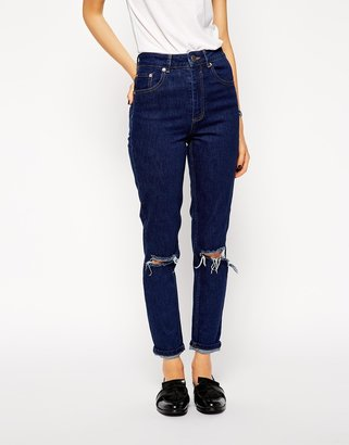 Asos Farleigh High Waist Slim Mom Jeans in Rich Blue with Busted Knees