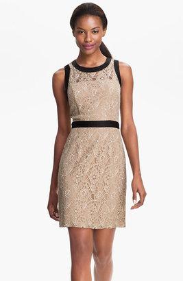 Max & Cleo Satin Trim Lace Sheath Dress
