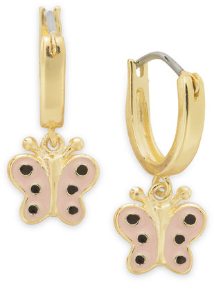 Lily Nily Children's 18k Gold over Sterling Silver Earrings, Pink Enamel Butterfly Drop Hoop Earrings