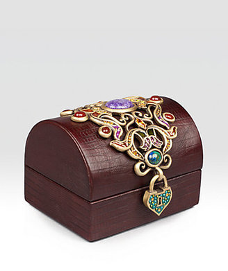 Jay Strongwater Jeweled Leather Treasure Chest Box