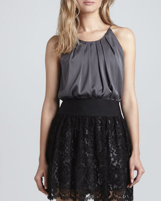 Milly Pleated Stretch Charmeuse Tank