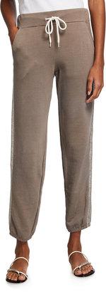 Monrow Supersoft Vintage Sweatpants w/ Glitter Side-Stripes