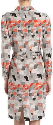 Cacharel Printed Belted Shirtdress, Gray/Black/Red