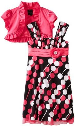 My Michelle Big Girls' Short-Sleeve Ruffle Dress with Printed Tulle Skirt