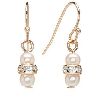 Lauren Conrad gold tone simulated crystal & simulated pearl drop earrings