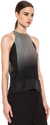 Helmut Lang Mercury Ombre Organza High Neck Top in Mercury