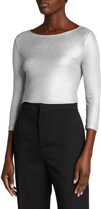 Majestic Filatures Soft-Touch Metallic Ribbed Top