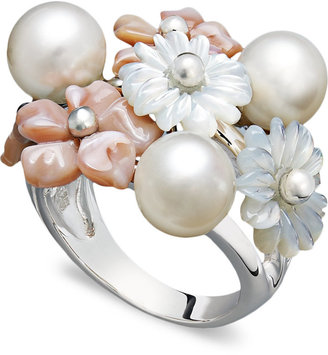 Mother of Pearl Pearl Ring, Sterling Silver and Cultured Freshwater Pearl Flower Ring