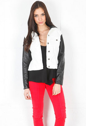 Jet by John Eshaya Jean Jacket with Leather Hood and Sleeves - SINGER22 EXCLUSIVE in White/Black