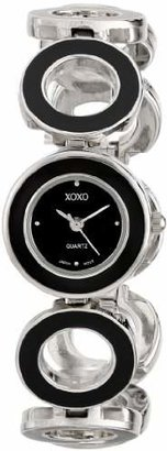 XOXO Women's XO5213 Silver-Tone and Black-Enamel Bracelet Watch