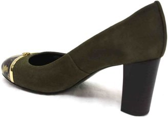 """Tory Burch Pacey"""" Green Leather and Snake Toe Pump"""