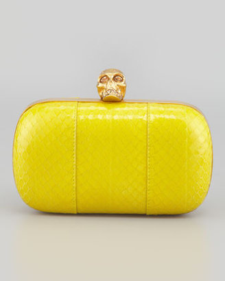 Alexander McQueen Classic Snake and Crystal Skull Box Clutch, Yellow