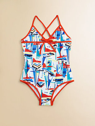 Milly Minis Girl's One-Piece Sailboats Swimsuit