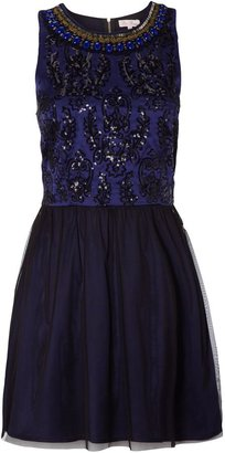 Be Beau Embroidered Neckline Dress