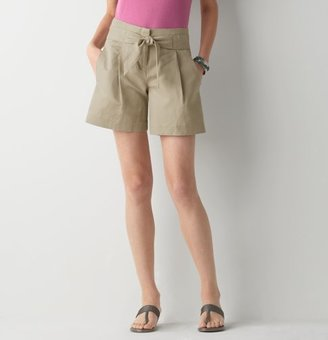 LOFT Textured Linen Cotton Shorts with Waist Tie