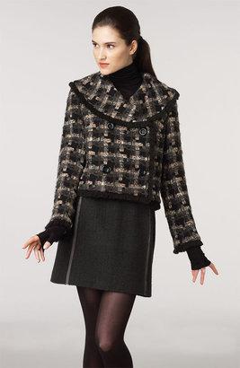 Milly Multi Check Crop Tweed Jacket