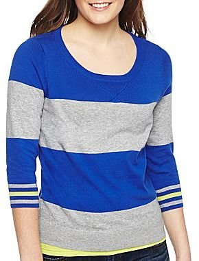 JCPenney jcpTM Stripe Sweater -Petites